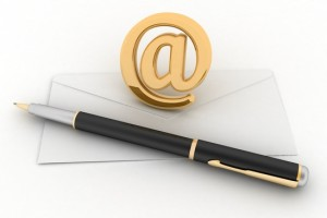 Envelope, pen and showing mail or communication concept 3d illustration on white background